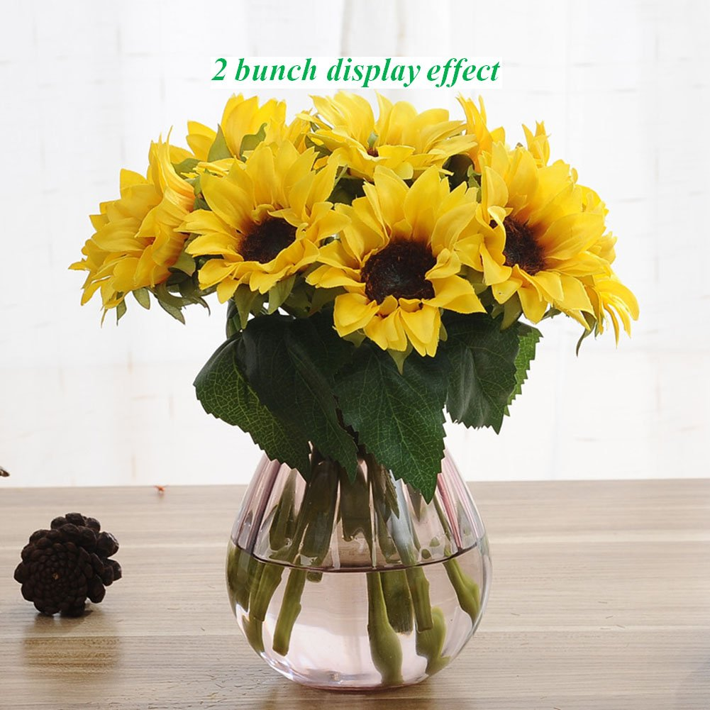 Artfen Artificial Sunflowers 6 Pcs Fake Sunflowers Preserved Flower Bouquet Bride Bridesmaid Holding Flowers Artificial Flowers Home Hotel Office Wedding Party Garden Craft Art Decor