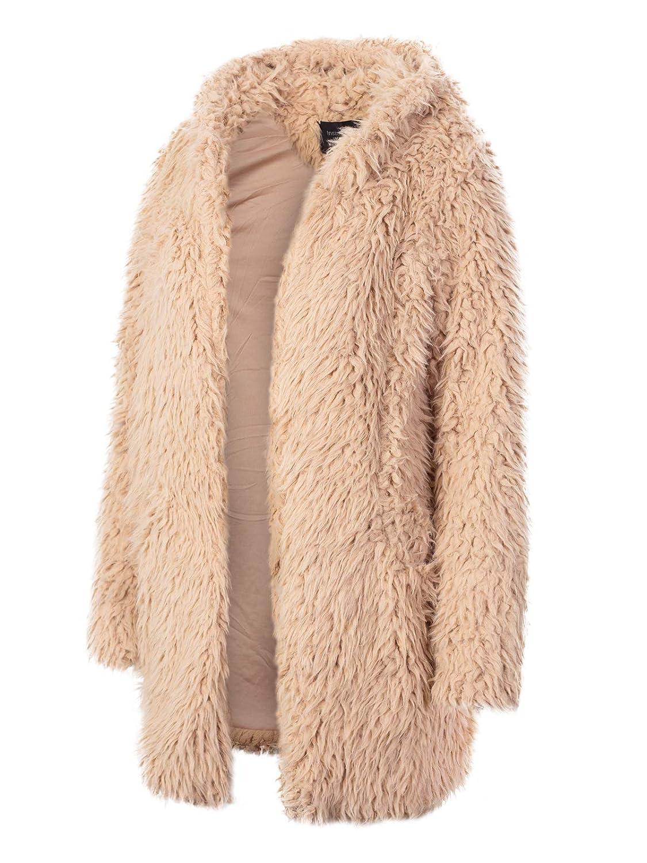 Ijkw043 Sand Instar Mode Women's Casual Warm Fluffy Faux Fur Oversized Outerwear Jacket Cardigan