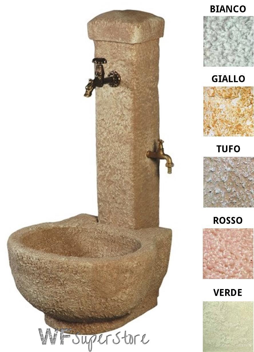 Fontana anticata in pietra ricostruita Paola - fontanella esterno giardino (Bianco-Nero)