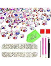KUUQA 6300 PCS 8 Sizes Nail Crystals AB Rhinestones Nail Art Rhinestones Gems with Diamond Painting Tool Set for Nails Eye Makeup Decoration (Mix SS3 4 5 6 810 12 16)