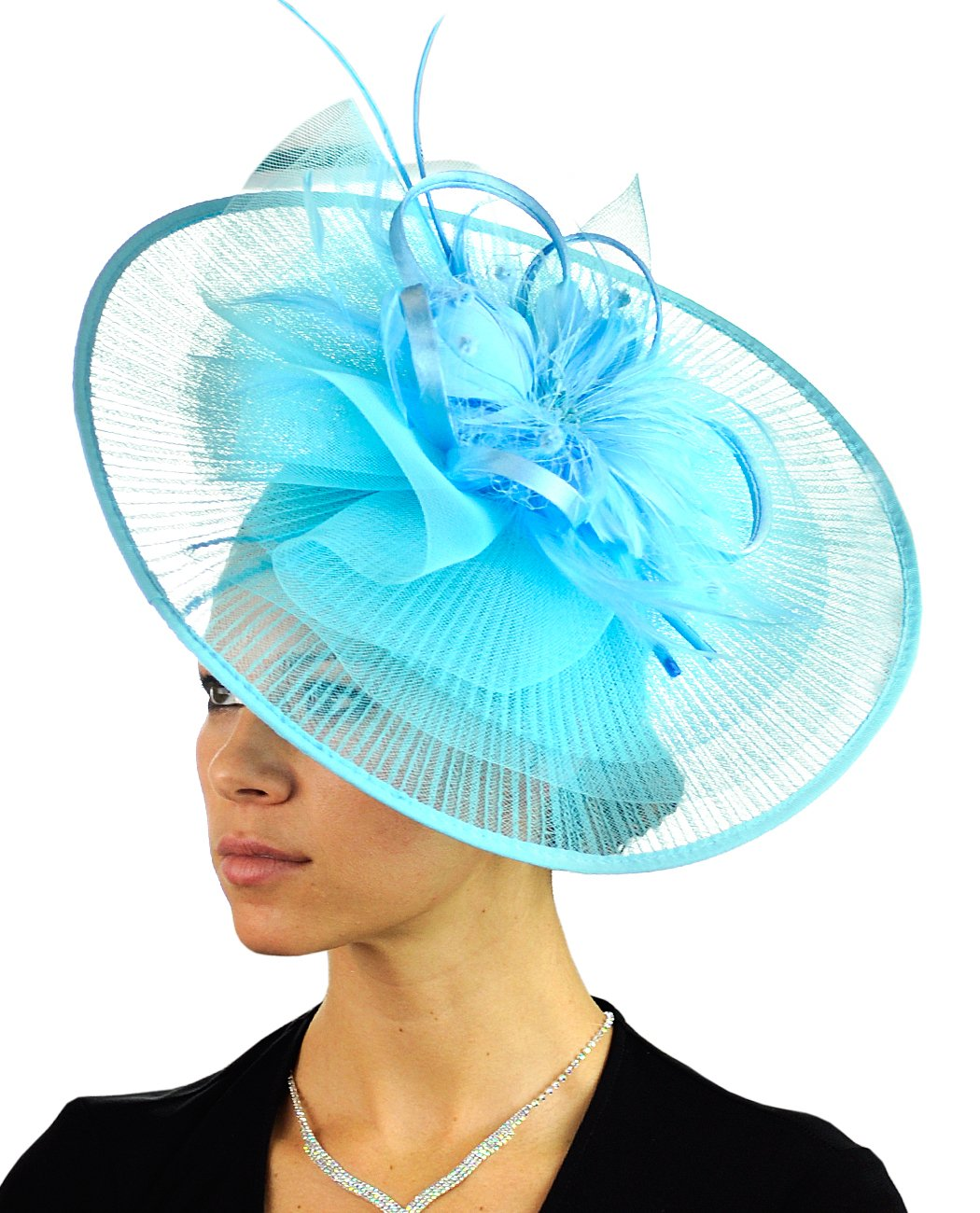 45e079b9b90 C.C Cocktail Fashion Sinamay Fascinator Hat Feather   Flower Design S102450