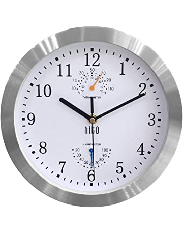 HITO Silent Non-ticking Wall Clock- Aluminum Frame Glass Cover, 10 inches (