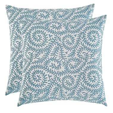 Artcest Set of 2, Decorative Cotton Blend Jacquard Bed Throw Pillow Case, Sofa Durable Paisley Pattern, Comfortable Couch Cushion Cover (Peacock Blue, 18 X 18 Inches)