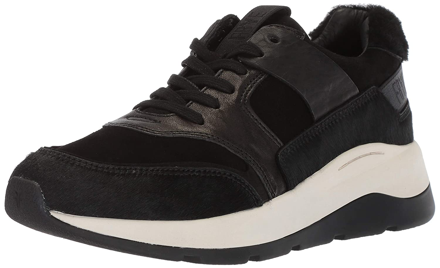 Black Hair Calf Suede Shearling Frye Womens Willow Low Lace Sneaker