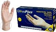 GlovePlus Industrial Clear Vinyl Gloves - 4 mil, Latex Free, Powder Free, Disposable, Non-Sterile, Food Safe, Medium, IVPF44