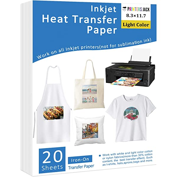Long Lasting Printing Transfer Paper for Heat Press Iron-On Heat Transfer Paper for Dark Fabric No Cracking 40 Pack 8.3x11.7 T-Shirt Transfer Paper for Any Inkjet Printer