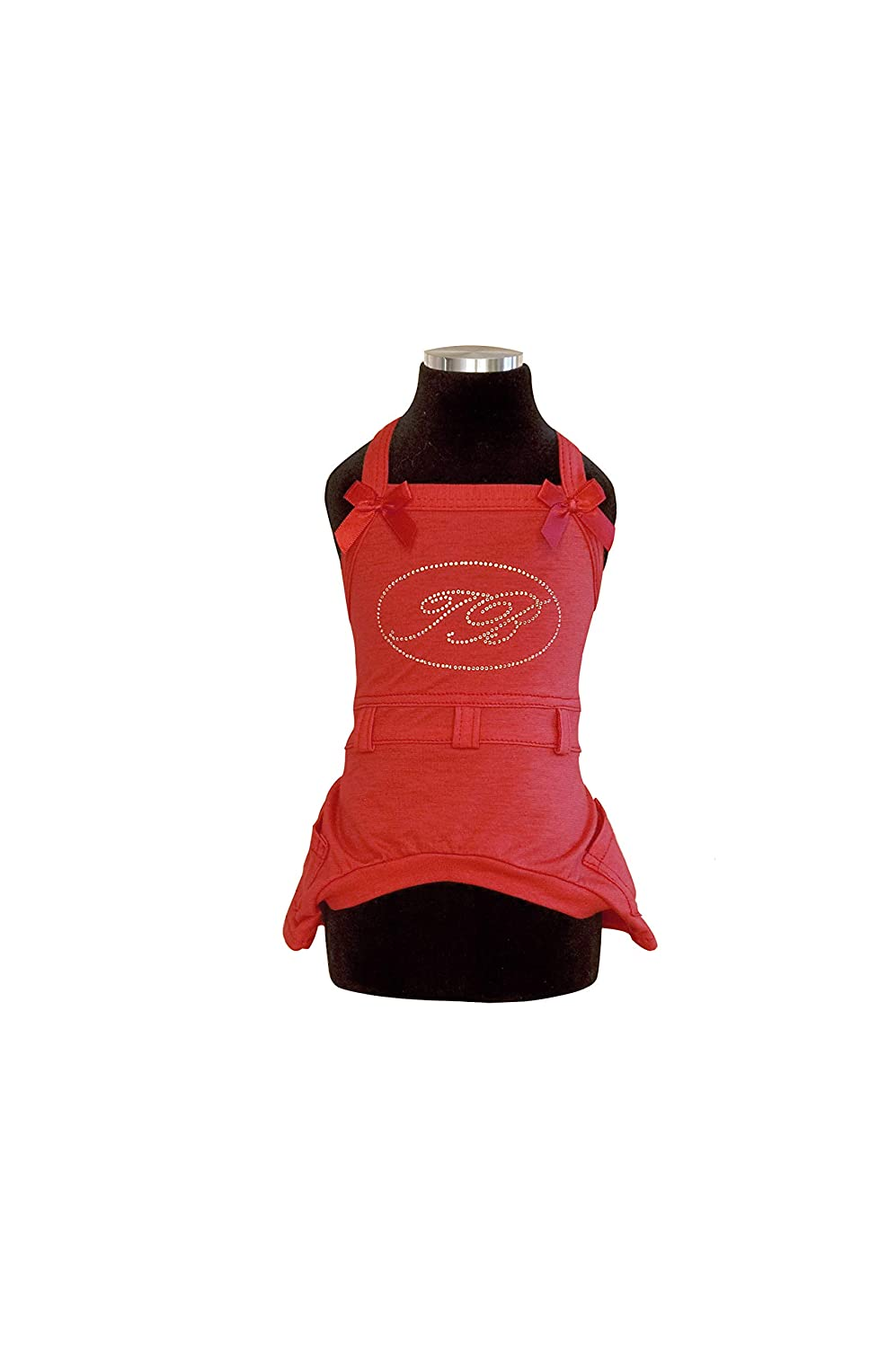 Trilly All Brilli Lavinia Jersey Dungarees Logo Application in Swarovski Stones, Red, S M