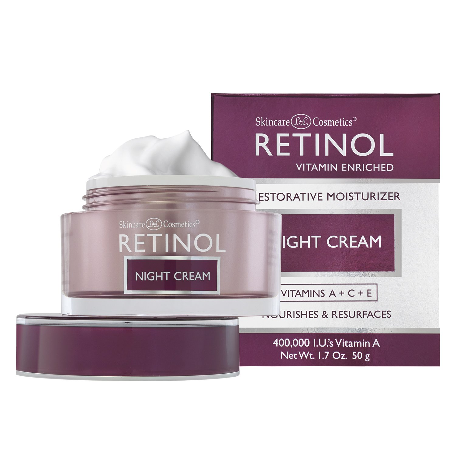 4 Pack - Skincare LdeL Cosmetics Retinol Vitamin Enriched Advanced Brightening Night Cream 1.70 oz JAYJUN Anti-Dust Intensive Cream 50ML