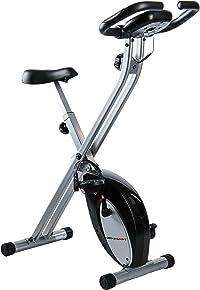 Ultrasport F-Bike, Fahrradtrainer, Heimtrainer, faltbares Fitnessfahrrad mit Trainingscomputer und Handpulssensoren, klappbar, Schwarz/Silber