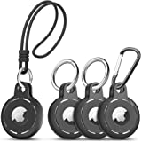 Migeec Compatible with AirTag Case Soft Silicone 4 Pack with 3 Keychain and 1 Wrist Strap Easy to Carry Anti-Scratch Shockpro