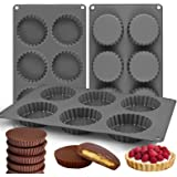 Palksky (3PCS) 6 Cup Silicone Chocolate Cookie Candy Mold/Large Fat Bombs Snack Baking Pan/Chocolate Almond Peanut Butter Cup