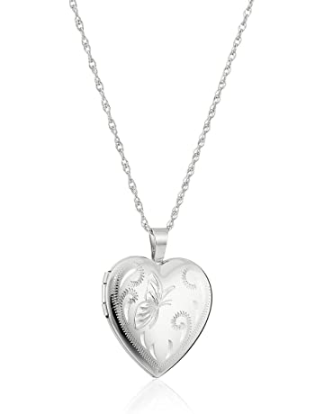 e52563292 Sterling Silver Heart with Hand Engraved Butterfly Locket Necklace, 18