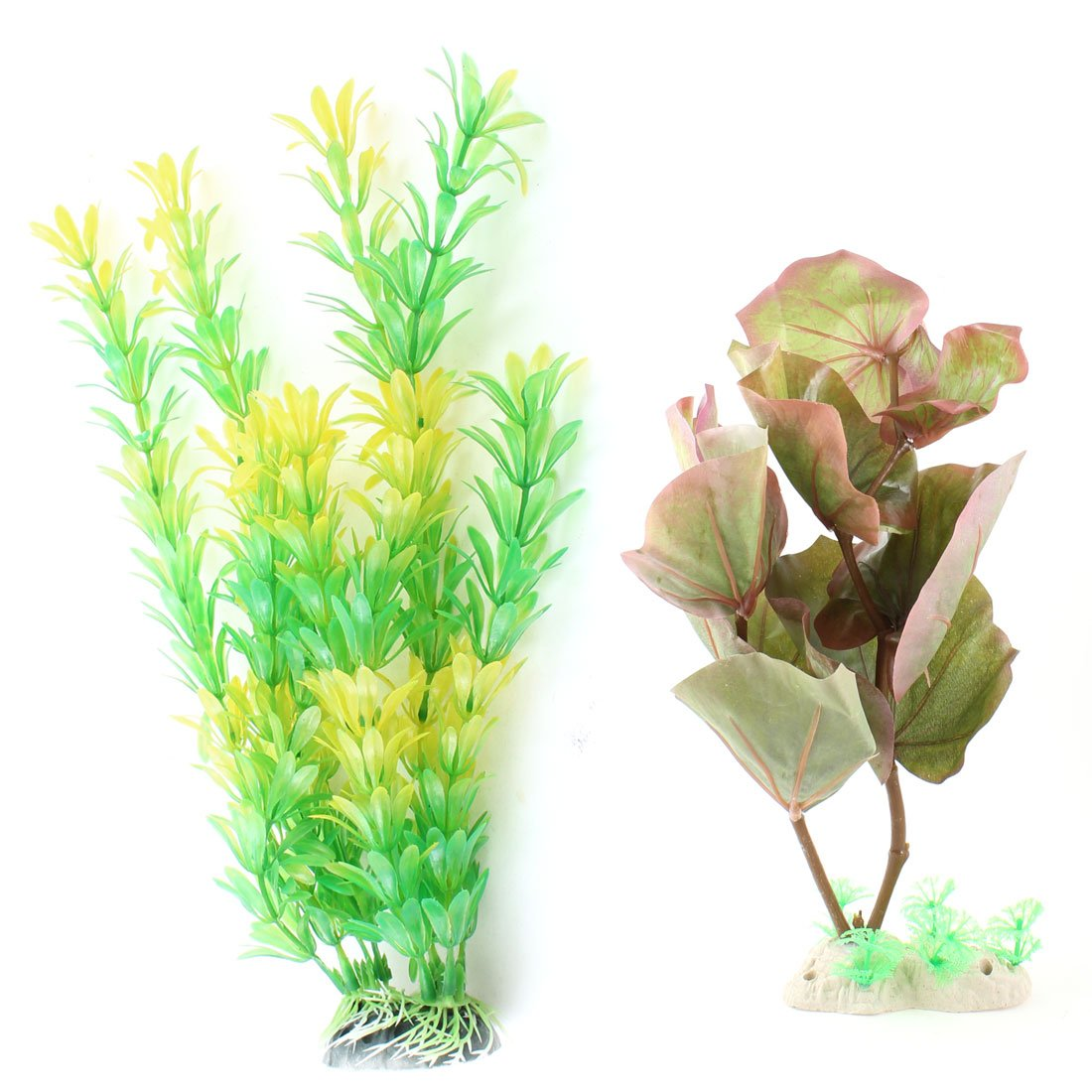 Uxcell 2-Piece Plastic Aquarium Plant Ornament, Purple Green Yellow