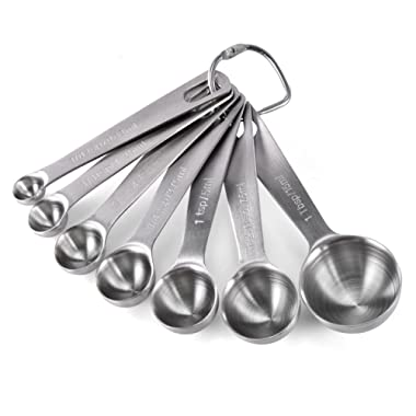 Measuring Spoons: U-Taste 18/8 Stainless Steel Measuring Spoons Set of 7 Piece: 1/8 tsp, 1/4 tsp, 1/2 tsp, 3/4 tsp, 1 tsp, 1/2 tbsp & 1 tbsp Dry and Liquid Ingredients