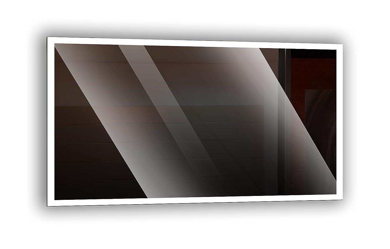 Ramix Badspiegel mit LED - Beleuchtung, Wandspiegel, Badezimmerspiegel - rundherum beleuchtet durch satinierte Lichtflächen, Größe  Breite 60 cm x Höhe 40 cm