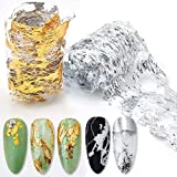 Gold Silver Foil Nail Art Holographic Aluminum Nail Foil Flakes Stickers Nail Sequins 3D Glitter Line Decoration DIY Design A