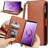 Auker - Funda tipo cartera para Samsung Galaxy S9 Plus con tarjetero y correa para mujeres/hombres, piel de microfibra de alt