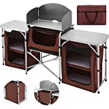 Happybuy Portable Camping Kitchen Table with 3 Storage Organizer, Aluminum Windscreen Folding Cooking Table Easy-to-Clean, Ou