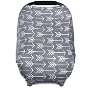 BONTIME Carseat Canopy - Multi Use Baby Car Seat Covers for Girls and Boys, Infant Stroller Cover, Shopping Cart Covers, Highchair Cover. Full Coverage to Protect Your Baby, Grey Arrow