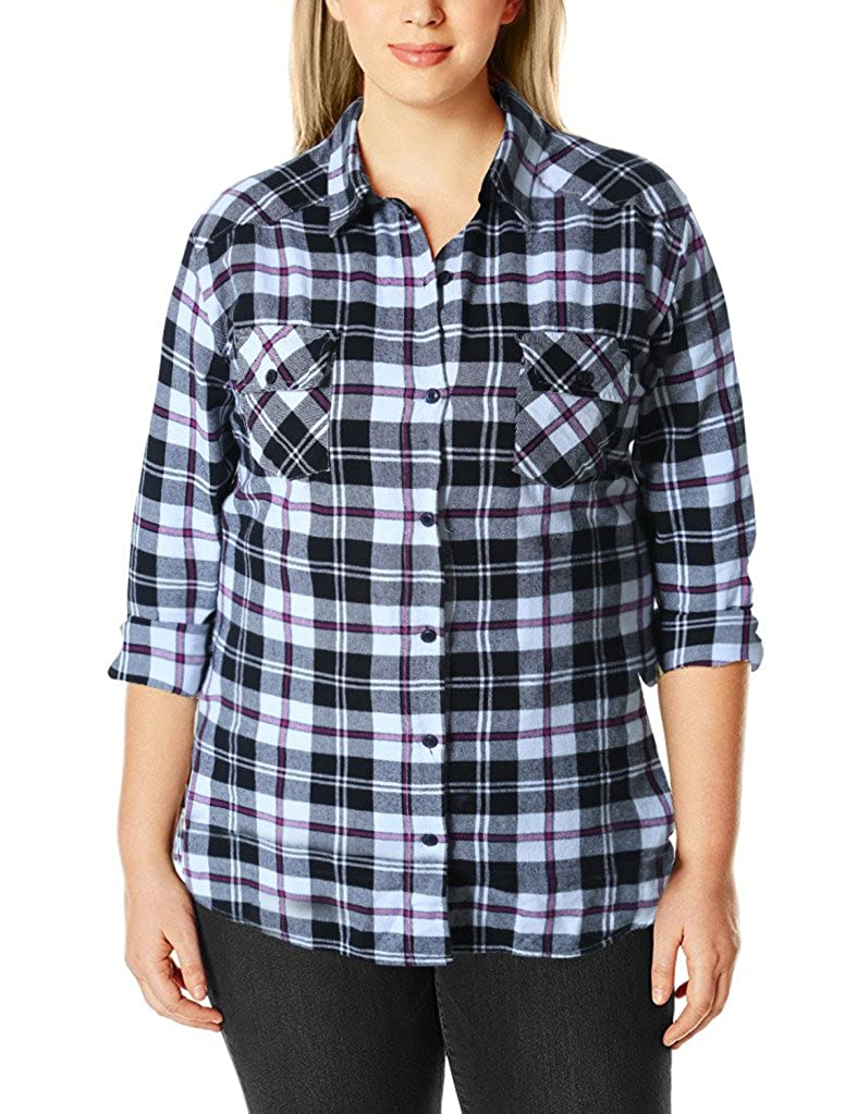 2020 Checks 5(regular Fit  No Side Tabs) Match Women's Long Sleeve Flannel Plaid Shirt