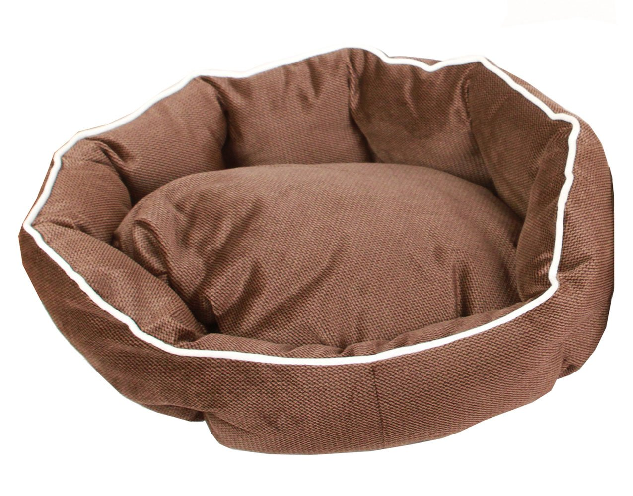 Chocolate Toy & Small Chocolate Toy & Small Mykumi Deluxe Dog Bed for Small and Toy Breed Dog and Cat, Soft Round Pet Bed Cuddler with Removable Double Sided Cushion (Toy & Small, Chocolate)