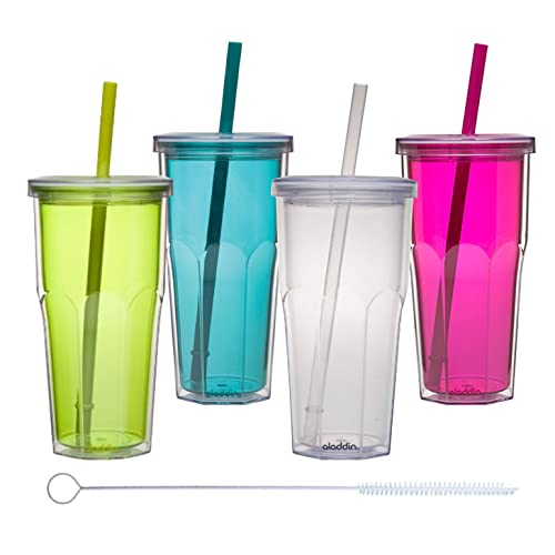 Double Wall Tumbler With Straw Set Amazon Com