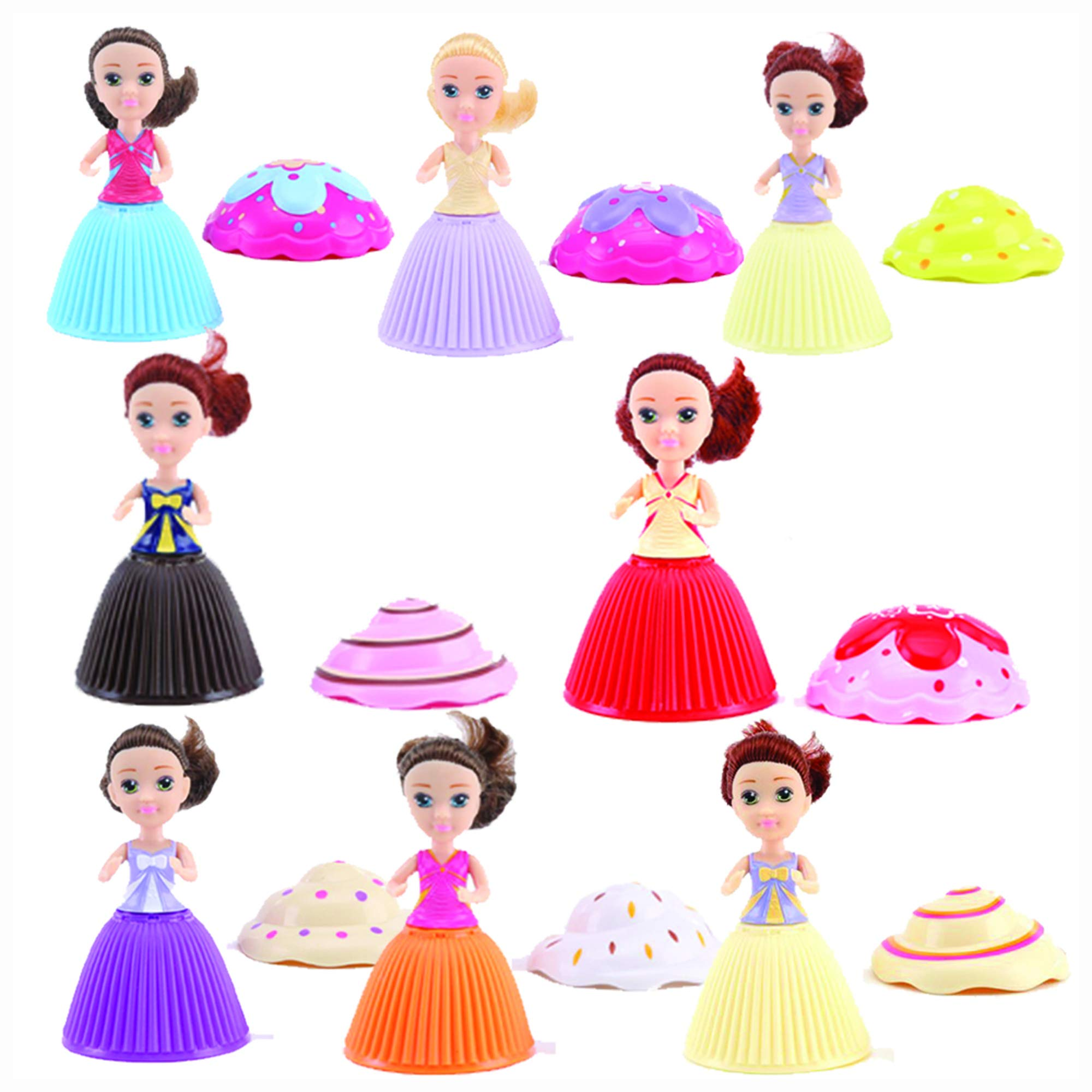 Evursua 2 Pack Scented Cupcake Dolls Toys with Surprise,Reversible Cake Transform to Mini Princess Doll (2 Pack)