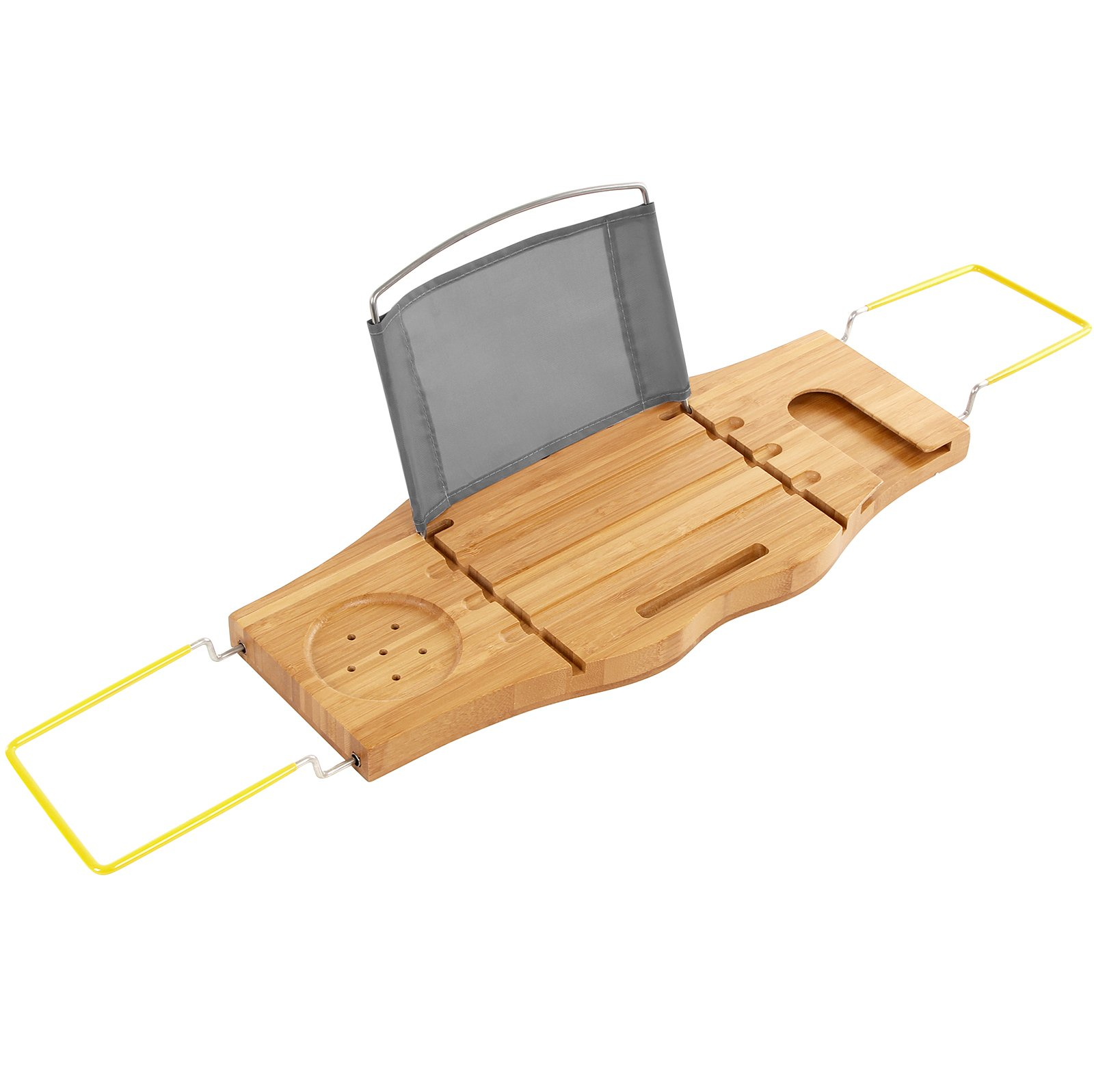 SONGMICS Extendable Bamboo Bathtub Caddy Tray Adjustable Side Rubber Grips  Stainless Steel Rack Bathroom Organizer with