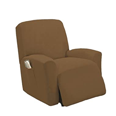 Elegant Home One piece Stretch Sterling Recliner Chair Cover Furniture Slipcovers with Remote Pocket Fit most Recliner Chairs # Stella (Light Brown)