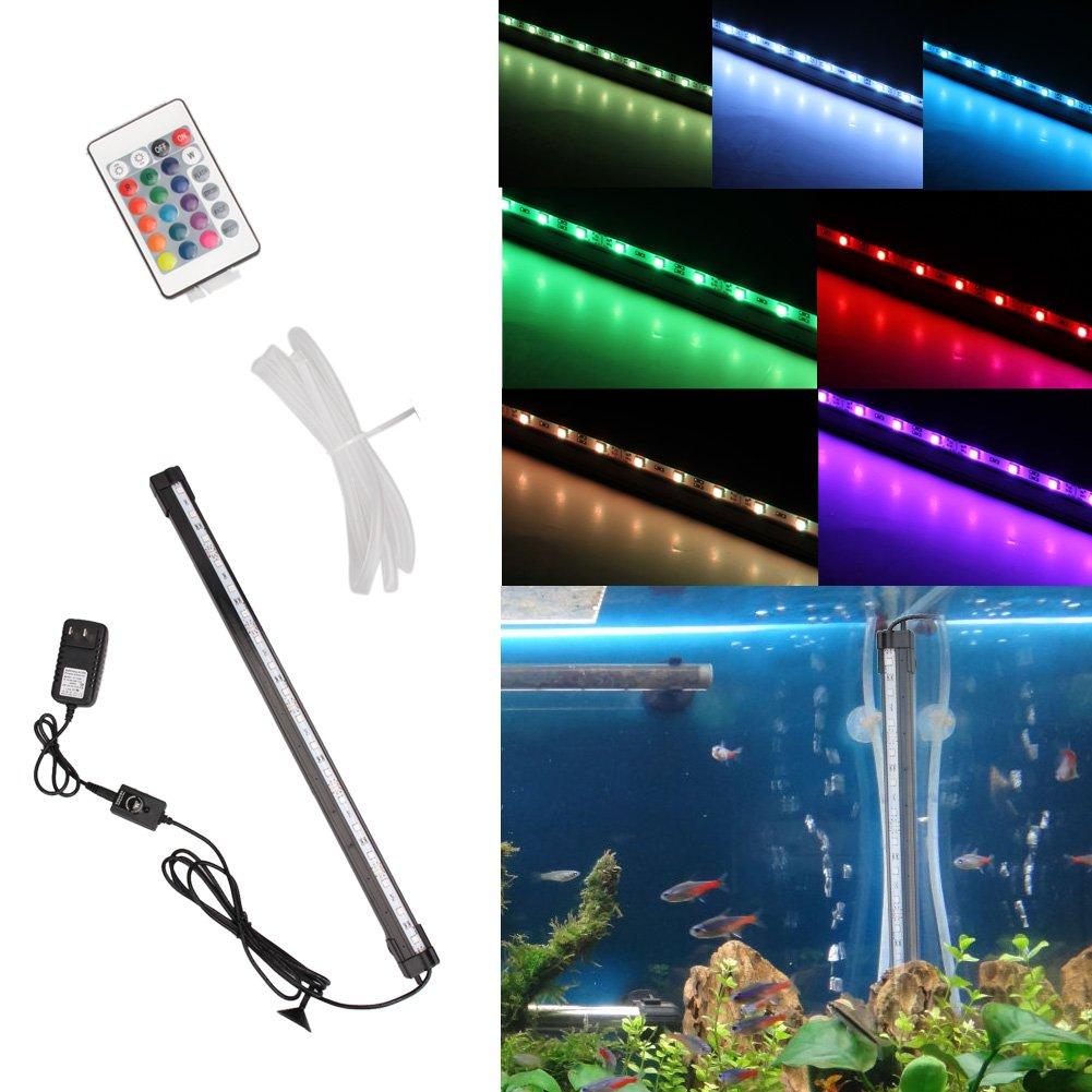 Aquarium Fish Tank12 LED Light bluee White 31 cm Bar Submersible Waterproof Clip Lamp Decor US Plug