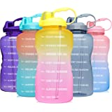 Venture Pal Large 1 Gallon/128 OZ (When Full) Motivational BPA Free Leakproof Water Bottle with Straw & Time Marker Perfect f