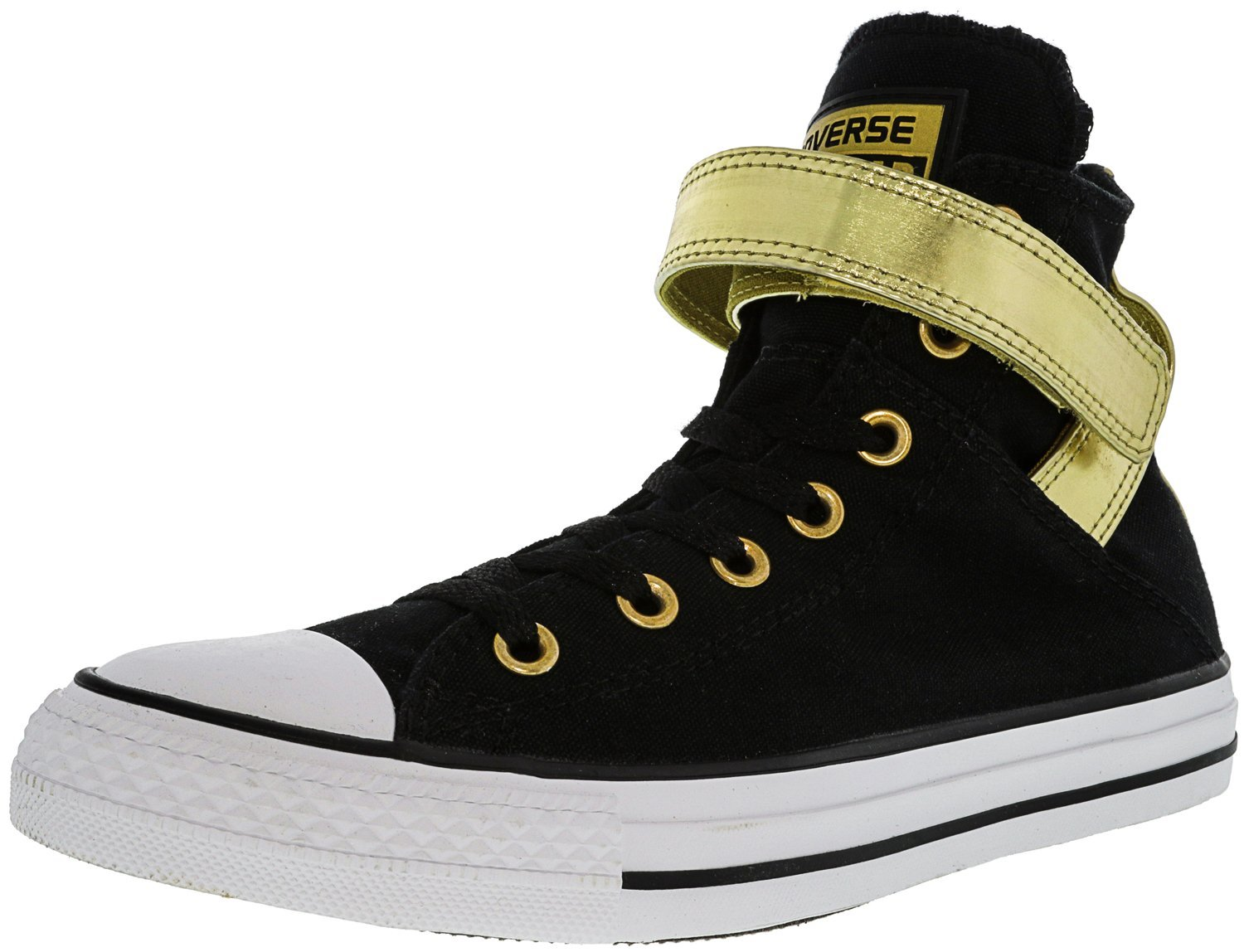 Converse Women's All Star Brea High-Top Leather Fashion Sneaker B0713WJTDF 8 B(M) US|Black / Gold