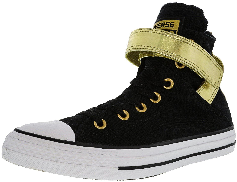 Converse Women's All Star Brea High-Top Leather Fashion Sneaker B0713WJTDF 8 B(M) US|Black / Gold