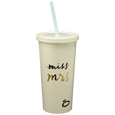 Kate Spade New York Bridal Insulated Tumbler with Reusable Straw, 20oz, Miss to Mrs. (White)