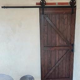 152CM/5FT puertas acero puerta corrediza de granero Hardware Herraje para Puerta de Granero Corredera de: Amazon.es: Bricolaje y herramientas