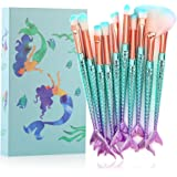 Tenmom Mermaid Pinceles Maquillaje, de Maquillaje Set, Face Eyeshadow Foundation Liquid Blush Pincel de Maquillaje Para Labio
