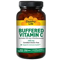 Country Life Buffered Vitamin C 1,000mg with Rose Hips - Clean Antioxidant Protection & Immune System Health Support - Non-GMO, Gluten-Free, Vegan (250 Count)