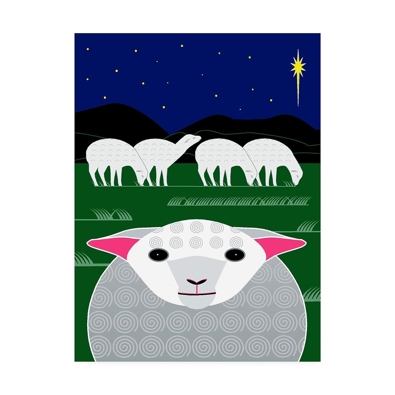 Trademark Fine Art greenical Christmas Sheep by Marie Sansone, 14x19