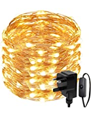 LE 20m 200 LED Copper Wire Lights, IP65 Waterproof Plug in Fairy Lights, Warm White Decorative String Lights for Party, Wedding, Garden and More