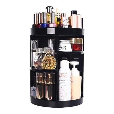 360 Degree Spinning Makeup Organizer, sanipoe Adjustable Makeup Carousel Round Rotating Storage Stand Rack, Large Capacity Ondisplay Shelf Cosmetics Organizer, Best for Countertop and Bathroom, Black