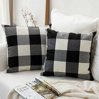 MIULEE Pack of 2, Classic Retro Checkers Plaids Cotton Linen Soft Soild Decorative Square Throw Pillow Covers Home Decor Design Set Cushion Case for Sofa Bedroom Car 18 x 18 Inch 45 x 45 cm