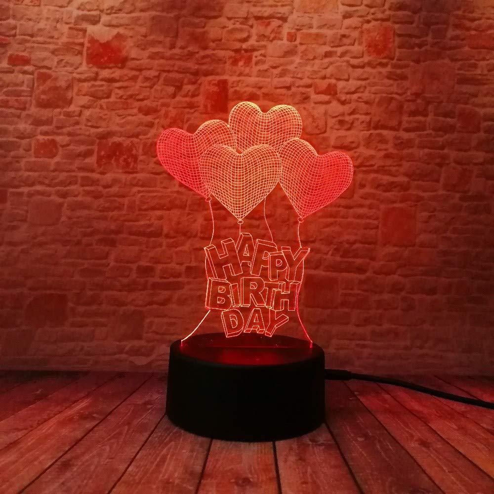 Neue Alles Gute Zum Geburtstag 3D Visuelle Led Nightlight Nightlight Nightlight Touch Usb Illusion Stimmung Dimmen Lampe Atmosphäre 7 Farbe Erstaunliche Geschenke 8fecae