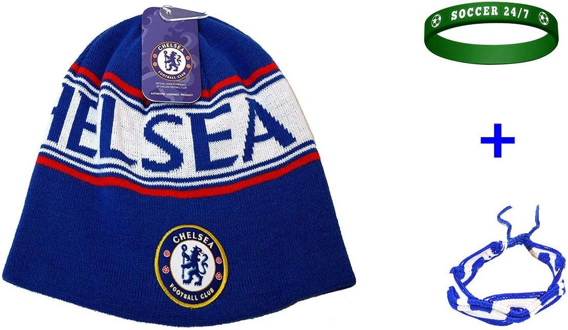Chelsea FC サッカービーニースカルキャップハット+ブレスレット2個セット 3個入り CHEL005
