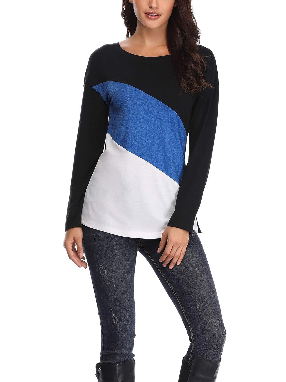 bluee HUHOT Women Soft Crew Neck colorblock Shirt Long Sleeve Tee Blouse Tops