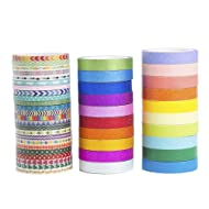 44 Rolls Rainbow Candy Color Skinny Slim Washi Tape Set,DIY Decorative Glitter Paper Tape Collection By AGU