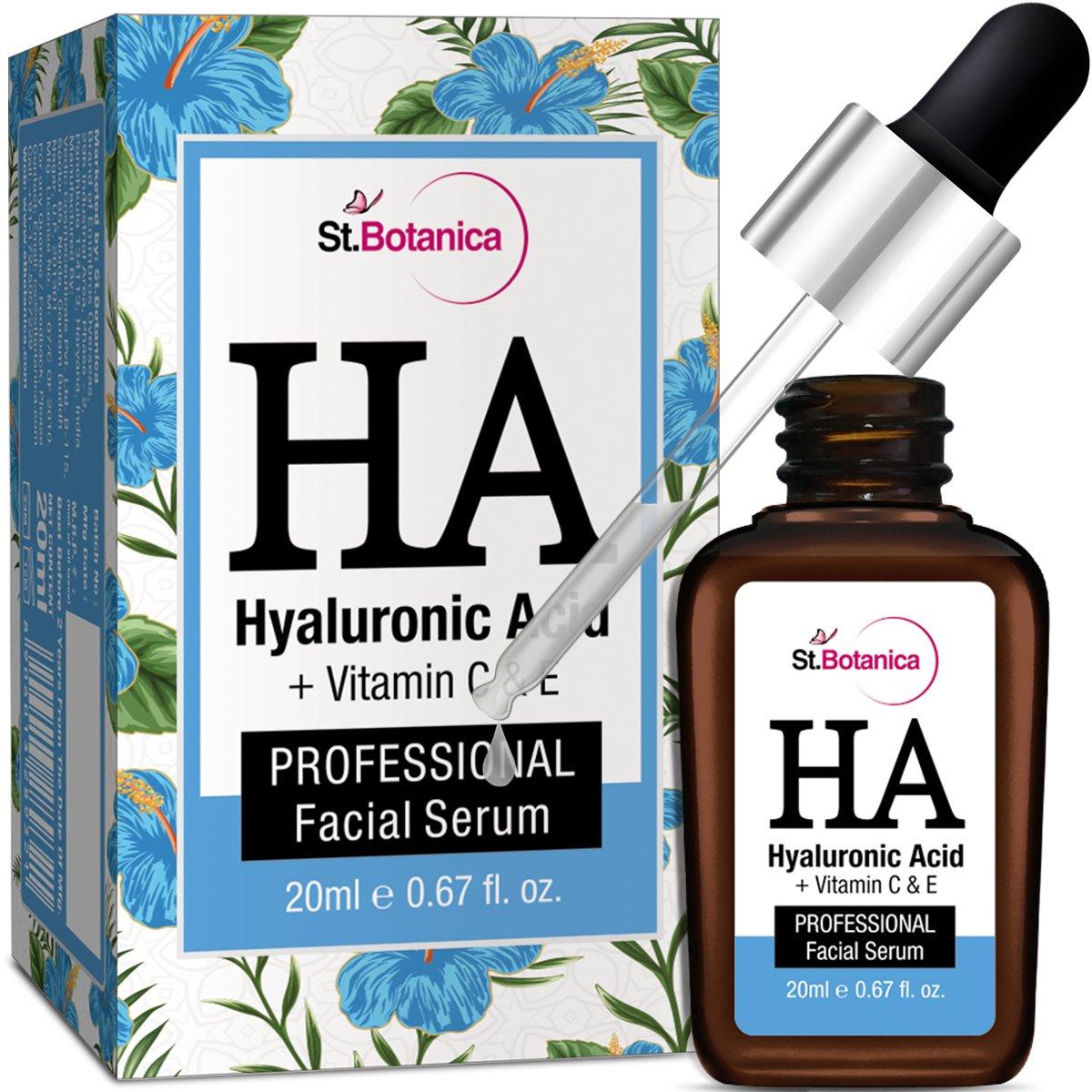 StBotanica Hyaluronic Acid Facial Serum + Vitamin C, E - 20ml - Under Eye Dark Circles, Anti Aging, Skin Fairness Brightening product image