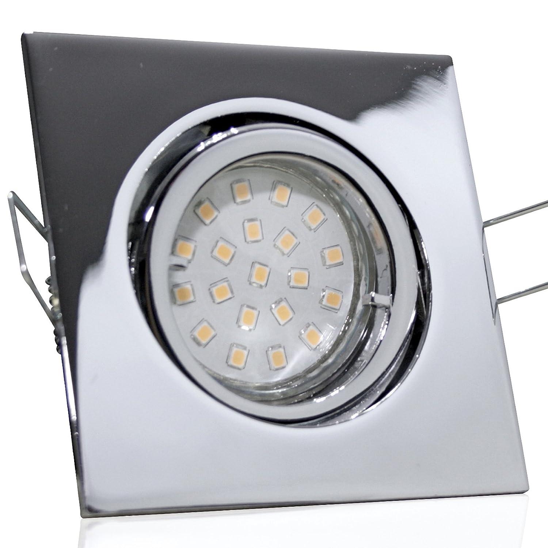 5 Stück SMD LED Einbaustrahler Cube 12 Volt 3 Watt Schwenkbar Chrom Warmweiß inkl. LED Trafo