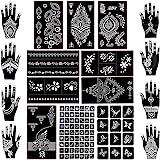 Koogel 18 Sheets Henna Tattoo Stencil Kit, 97 Pcs Temporary Glitter Airbrush Tattoo Stencils Arabian Tattoo Stickers for Face