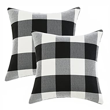 Set of 2 Black and White Buffalo Check Plaid Throw Pillow Covers Farmhouse Decorative Pillow Covers 18x18 Inches for Farmhouse Decor