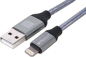 StilGut - Cavo Lightning Premium certificato Apple Mfi per la ricarica e la trasmissione dati, lungo 2m, grigio